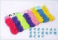 Wholesale fedex ups ship new interesting Cartoon Kitchen HandTowel Chenille fabric lovely Animal towels kid love to wash hand style
