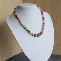 Wholesale High quality mm Natural Pink Green jade beads Jasper Necklace women girls stones inch Jewelry making design