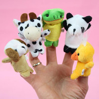 Wholesale Baby Plush Toy Finger Puppets Talking Props animal group set fingers even baby doll puppet finger doll