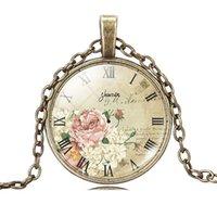 antique clock pictures - christmas gift clock necklace pendant necklace glass cabochon necklace art picture silver antique bronze chain necklace