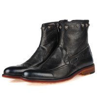 Wholesale newGenuine Leather Formal Brand Man Boots Men s Rivets Martin Motorcycle Sneakers Rubber Shoes vgbf6ut