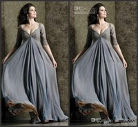 dresses for pregnant women long dress - Simple Grey Prom Dress A line V neck Lace sleeve Pleats Chiffon Evening Dress for Pregnant Women Floor length Maternity Dresses