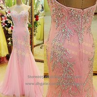 Real Photos amazing trumpets - 2015 Amazing Lace Rhinestone Prom Dress Crystal Real Photos Beaded Pink Lace Mermaid Evening Gowns Sweetheart Women Robe De Soiree E4043