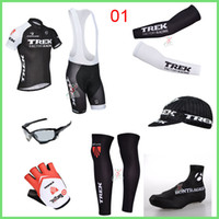 Wholesale Team Sky Castelli Trke Cycling Seven Piece Set Short Sleeve Padded Pants With Arms Gloves Legs Hat Shoes Covers Sunglasses
