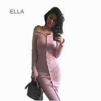 Wholesale Women Knitted Sweater Autumn Winter Off the Shoulder Front Button Bodycon Dress Casual Pink Club Long Knitting Dress SML