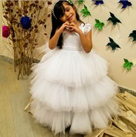 beauty birthday cake - 2015 Long Pageant Dresses Cap Sleeve Beauty Girl Cake Flower Girl Dress Floor Length Tiered Belt Jewel Neckline Wedding Girl Gowns