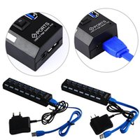 Wholesale Hot Seller Ports USB Hubs With On Off Switch EU US AC Adapter For PC Laptop ABS JD6