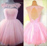 semi formal dress - Semi Formal Homecoming Dresses Hot Pink Scoop Neck Cap Sleeves Tulle Knee Length Short Prom Party Gowns Lace Appliques Cocktail Dress