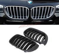 Wholesale Carbon Fiber and ABS Glossy Black Finish style Dual Slats Front Grilles For BMW X3 F25 X4 F26