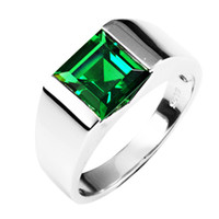 Wholesale 2016 Classic Fashion ct Russian Nano Emerald Wedding Ring For Mens Sets Genuine Solid Sterling Sliver