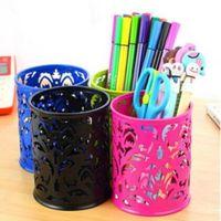 Wholesale Trendy Hollow Rose Flower Shape Cylinder Brush Pen Pencil Pot Holder Container Organizer Colors Pen Holders