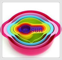 Wholesale DHL sets NEW Multi function rainbow kitchen tools sets Measuring spoon Bowl Mixing bowl Basin Creative kitchen utensils cooking to