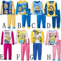 Wholesale New Pyjamas boy girl kids long sleeve pajama sets baby minions pajamas sleepwear Despicable Me pyjamas kids autumn winter pajamas