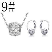 Wholesale 13 styles mixed High quality Austrian crystal jewelry set Lucky bead necklace and earrings fashion Women Crystal Jewelry set