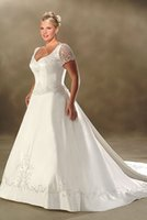 Wholesale Elegant Plus Size A Line Wedding Dresses V Neck Short Sleeves Embroidery Court Train Bridal Wedding Gowns New Arrival