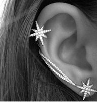 american flakes - Clip Earrings New Fashion Star Ear Cuff Trendy Personality Luxury Clip Earrings For Women Jewelry Shiny flakes Snowflake Earring Ear Cuff