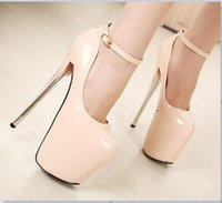 20cm high heels - New cm red bottom sexy high heels ankle strap heels bridal shoes ladies red sole wedding shoes women platform shoes size