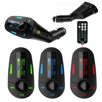 Wholesale 3Colors Car Kit MP3 Player Wireless car FM Transmitter Radio transmiter With USB SD MMC Remote Control