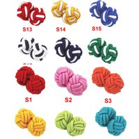 Wholesale Promotion High Quality Multicolor Elastic Fabric Silk Knot Cufflinks Ball Cuff links Hot Selling