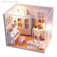 Wholesale DIY large Doll House Music hut miniatura D Miniature Wooden Dollhouse Toy Model Building handmade