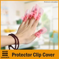 Wholesale High quality Set Pink Manicure Finger Nail Art Design Tips Cover Polish Shield Protector Clip Cover