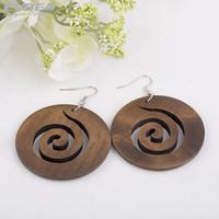 wooden earrings - EVBEA Wooden Drop Earrings Vintage Bohemian Style Wood Hollow Out Dangle Earrings Unique Costume Jewelry For Women