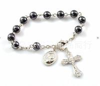 Beaded, Strands beaded christian jewelry - 2015 New Fashion Hematite Rosary Beads Bracelet Religion Jesus Christian Cross Bracelet Women Girls Jewelry