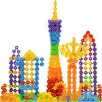 Wholesale 100Pcs Multicolor Children Kid Baby Snowflake Creative Blocks Educational Toys wooden toys SS2