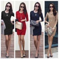 plain long sleeve - New Womens Long Sleeve Stretch Bodycon Ladies Plain Short Mini Dress Size DH