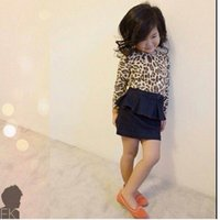 Wholesale Spring New Girl Sets Leopard Long Sleeve T Shirts Denim Skirt Children Set Y