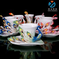Wholesale Peacock Modle Coffee Cup with Saucer Sets Ceramic Enamel Porcelain Couple Cups Phoenix Mugs Wedding Birthday New Home Gifts