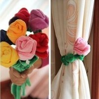 Wholesale 2015 new Plush Rose Flower Tieback Curtain Strap Tie Holder Buckle Clip Home Party Decor Gifts