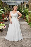 Wholesale 2015 Wedding Dresses Plus Size Wedding Dress Designers Draped Lace Appliques Lace Up Sweep Train Chiffon Wedding Dress