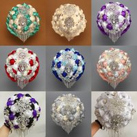 Wholesale 2015 Luxury Bridal Bouquets In Stock European and American Style Wedding Bouquets in White Off White Sky Blue Dark Purple Royal Pink Red