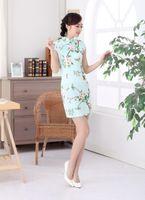 beautiful chinese dress - Beautiful Sheath Chinese Style Women Dresses National Costume High Neck Short Sleeve With Print Satin Silk Dress