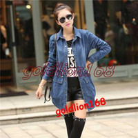 blue jean jacket - 2015 Spring Summer Korean Fashion Women Blue Jean Jacket Full Sleeve Turn down Collar Slim Denim Jacket Ladies Coat