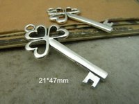 antique events - 40 Antique Silver Heart Key Charms Pendants Wedding Event Charms Large Size mm Key Pendant