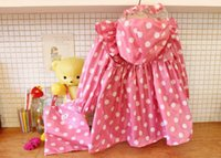 Wholesale Kids Rain Wear Korean Style Girl Polka Pink Yellow Dots Bowknot Toddler Raincoat with Free Handbag