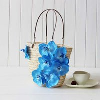 Wholesale Plumblossom women lovely summer accessories orchid flowers beach bag seaside leisure straw bag lady handbag