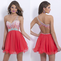 Wholesale 2015 New Short Prom Homecoming Party Cocktail Dresses Graduation Ready To Wear One Shoulder Backless Beads Coral Lilac Chiffon Cheap AJ01