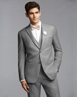 Wholesale Mens Tuxedo Suits Groom Tuxedos Best Man Suit Wedding Groomsmen Bridegroom Suits Slim Fit Light Grey Side Vent Jacket Pants Tie Vest