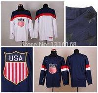 blank hockey jersey - Cheap Blank USA Jersey Team American Blank Hockey Jerseys Ice Home Blue Road Away White Embroidery Sports Jerseys