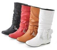 diamante shoes - Womens Diamante Detachable Bow Tie Slouchy Mid Calf Boots Shoes Plus Size