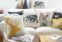 bear massage - Nordic Home Decorative Sofa Cushion Cover Geometric Deer Stag Elephant Bear Arrows Love Pillow Case Linen Cotton Cushions Pillows Covers