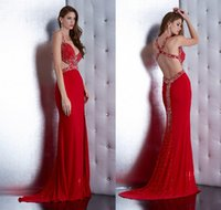 Wholesale Sexy Jasz Dresses - New Corss Straps Back Prom Dresses With Spaghetti Beads Sheath Split Side Long Chiffon Sexy Red Jasz Couture Evening Pageant Party Gowns