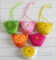 beach bags - Fashion Cute Wheat Straw Mini Bags With Zipper Crochet Knitting Nature Plant Beach Bags Candy Colors Handbags Women Children Gift F078