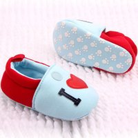Wholesale Lovely Girl Boy Round Toe Flats Soft Slippers Shoes I Love MOM DAD