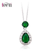 Wholesale Teemi Brand Emerald Green Color CZ Water Drop Zircon Crystal Pendant Necklace Women Platinum Plated New High Quality Party Jewelry