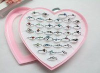 Wholesale Mixed Colors Siliver Women s Rhinestone CZ Charm Lady s Ring Rings With Heart Shape Boxes Nice Gift For A Friend