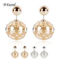 diamond earrings - Double Sided Earrings for Women Gold Silver Plated Hollow Out Ball Diamond Inside Fashion Earring Jewelry Double Stud Earing ER154508